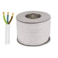 2.5mm 3 Core round mains cable white (1mtr)