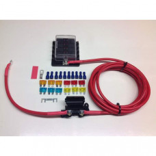 Fuse box distribution kit with ready made leads + 10-way Fuse Box