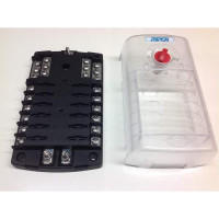 12-Way Fuse box with twin positive bus bars + negative bus bar