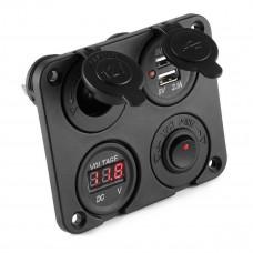 USB Power Socket + Standard 20A Power Socket + Volt Meter Panel + Switch