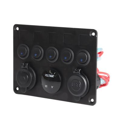 12V/24V Inline Fuse Box LED Rocker Switch Panel 2 USB Charger Socket